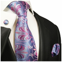 Purple Paul Malone Silk Necktie Set (1011CH)