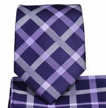 Purple Plaid Necktie and Pocket Square Set