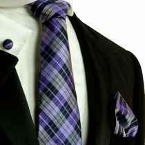 Purple Plaid Silk Necktie Set by Paul Malone (572CH)