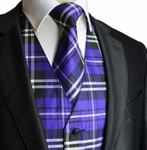 Purple Plaid Tuxedo Vest Set