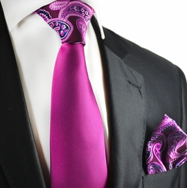 Purple Potion Contrast Knot Tie Set by Paul Malone