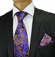 Purple Silk Tie and Pocket Square by Verse 9