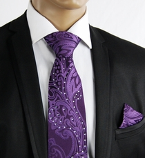 Purple Silk Tie Set with Crystals (C71-11)