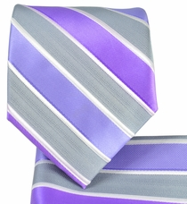 Purple Striped Necktie and Pocket Square