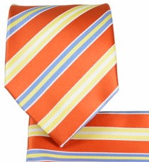 Burnt Orange Striped Necktie and Pocket Square