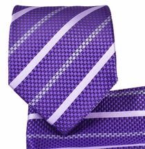 Purple Striped Necktie and Pocket Square Set