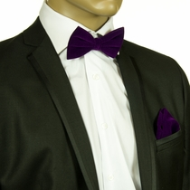 Purple Velvet Bow Tie and Pocket Square Set