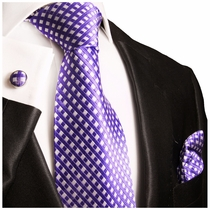 Purple & White Paul Malone Silk Tie Set (462CH)