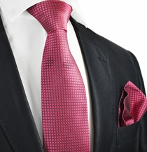 Raspberry Silk Tie and Pocket Square . Paul Malone