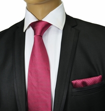 Raspberry Silk Tie and Pocket Square . Paul Malone Red Line