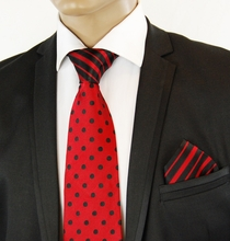 Red a. Black Contrast Knot Silk Tie Set by Steven Land