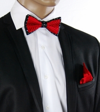 Red a. Black Crystal Bow Tie Set . Silk (C1PT-5)
