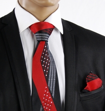 Red a. Black Crystal Silk Tie a. Pocket Square (C61-5)