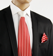 Red a. White Contrast Knot Silk Tie by Steven Land