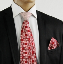 Red a. White Contrast Knot Tie Set by Steven Land