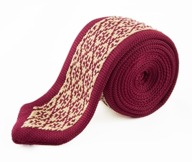 Red and Beige Knit Tie by Paul Malone (KN663)