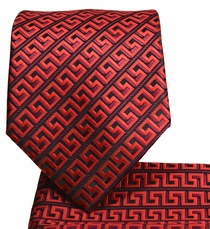 Red and Black Men's Tie and Pocket Square