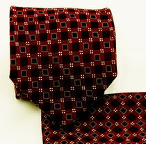 Red and Black Necktie and Pocket Square (Q580-A)