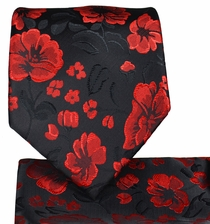 Red and Black Necktie and Pocket Square Set