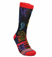Red and Black Paisley Dress Socks by Paul Malone