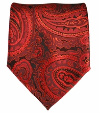 Red and Black Paisley Men's Tie