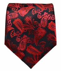 Red and Black Paisley Paul Malone Silk Necktie (912)