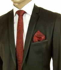 Red and Black Paisley SLIM Silk Tie Set by Paul Malone (Slim586H)