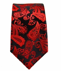 Red and Black Paisley Slim Tie by Paul Malone