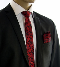 Red and Black Paisley SLIM Tie Set by Paul Malone (Slim912H)