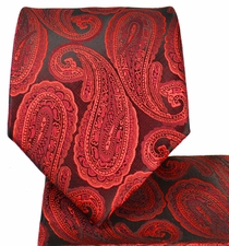 Red and Black Paisley Tie and Pocket Square Set