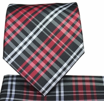 Red and Black Plaid Necktie and Pocket Square Set