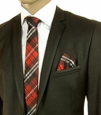 Red and Black Plaid SLIM Silk Tie Set by Paul Malone (Slim597H)