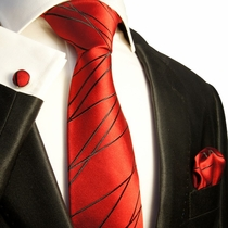 Red and Black Silk Necktie Set by Paul Malone (595CH)