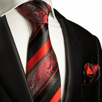 Red and Black Silk Tie Set . Paul Malone Red Line