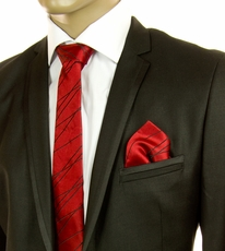 Red and Black SLIM Silk Tie Set by Paul Malone (Slim595H)