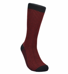 Red and Black Striped Cotton Socks by Paul Malone