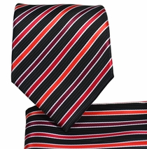 Red and Black Striped Necktie and Pocket Square Set (Q575-I)
