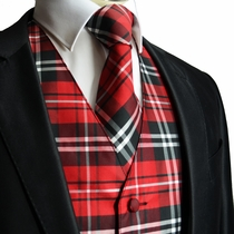 Red and Black Tuxedo Vest and Necktie