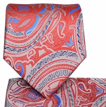 Red and Blue Paisley Tie and Pocket Square