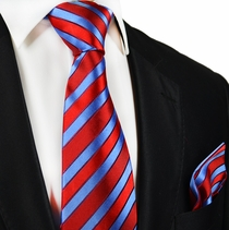 Red and Blue Silk Tie and Pocket Square by Paul Malone