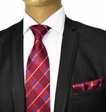 Red and Blue Silk Tie Set by Paul Malone Red Line