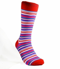 Red and Blue Striped Cotton Socks by Paul Malone