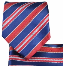 Red and Blue Tie and Pocket Square Set