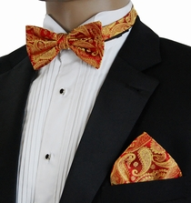 Red and Gold Paisley Bow Tie and Pocket Square by Paul Malone (BT695H)