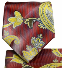 Red and Gold Paisley Necktie and Pocket Square
