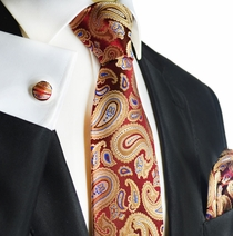 Red and Gold Paisley Silk Tie Set by Paul Malone