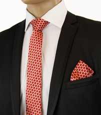 Red and Gold SLIM Silk Necktie by Paul Malone