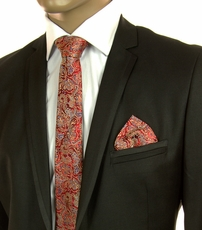 Red and Gold SLIM Silk Tie Set by Paul Malone (Slim568H)
