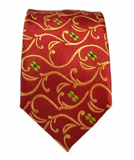 Red and Gold Slim Silk Tie by Paul Malone