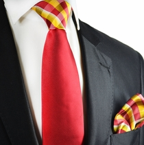 Red and Golden Glow Contrast Tie Set by Paul Malone